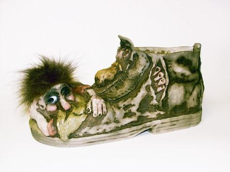 Troll im Schuh, auch als Blumentopf 40cm lang / 18cm hoch