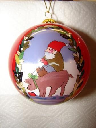 """Weihnachtskugel """"Auf dem Glücksschwein"""" 7.5cm"""
