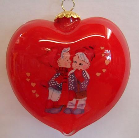 Weihnachskugel Herz 7cm b/8cm h