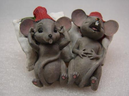 Weihnachts-Mäuschenpaar am Träumen 7/5.5cm