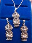 Kette (40cm) mit Anhänger und Stecker-Ohrringe (830er Silber)