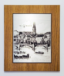 Zinnstich Basler Rheinbrücke 26 x 22 cm